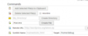 File creation within the control panel File Manager.