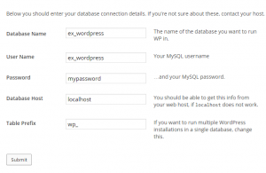 WordPress database settings following this walkthrough.