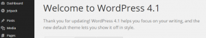 Confirmation splash page once WordPress has been updated.