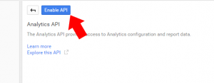 Enable API button to enable Analytics data sharing within the control panel.