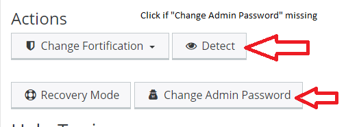 Resetting a WP password. First select Detect, then Change Admin Password